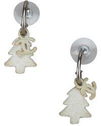 Chanel - Cc Tree Silver Tone Drop Earrings - Lyst