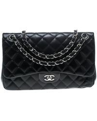 Chanel - Black Quilted Leather Jumbo Classic Double Flap Bag - Lyst