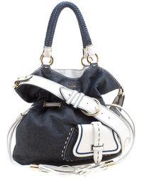 Lancel - /white Denim And Leather Premiere Flirt Bucket Shoulder Bag - Lyst