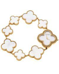 Van Cleef & Arpels - Mother Of Pearl 18k Yellow Vintage Alhambra Women's Bracelet Watch 26 Mm - Lyst