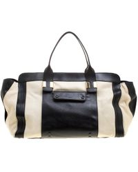 Chloé - Black/off White Leather Alice Satchel - Lyst