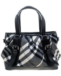 1c38ebb721fc Burberry - Metallic Beat Check Nylon And Leather Medium Lowry Tote - Lyst