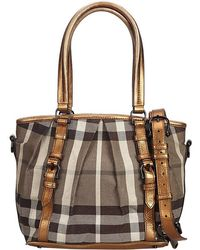 Burberry - Gold Smoked Check Canvas And Leather Northfield Tote - Lyst