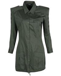 Balmain - Olive Cotton Emroidered Military Shirt Tunic M - Lyst