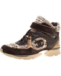 Chanel - Brown Woollen Tweed And Metallic Leather Lace Up Sneakers Size 43 - Lyst