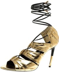 b53366ef03 Tom Ford - Metallic Gold Leather Stardust Lace Up Cage Sandals Size 37.5 -  Lyst