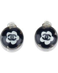 Chanel - Cc Camellia Pvc Clip-on Stud Earrings - Lyst
