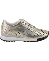 Moschino - Love Metallic Beige Faux Heart Perforated Faux Leather Platform Lace Up Sneakers Size 39 - Lyst