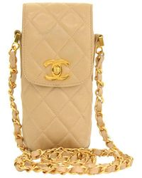 Chanel - Quilted Lambskin Cc Phone Case Bag - Lyst
