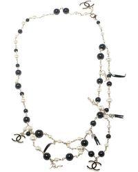 Chanel - Cc Black Metal Necklace - Lyst