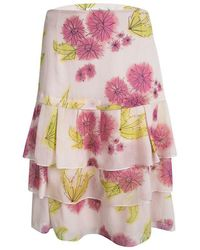 Dior - Floral Printed Silk Tiered Mini Skirt M - Lyst