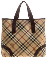 Burberry -  brown Haymarket Check Canvas And Leather Tote - Lyst 16db8eb80c
