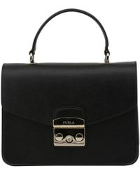 Furla - Onyx Leather Small Metropolis Top Handle Bag - Lyst