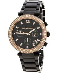Michael Kors - Black Stainless Steel And Rose Gold Plated Steel Parker Mk5885 Women's Wristwatch 39 Mm - Lyst