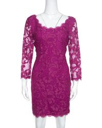Diane von Furstenberg - Berry Pink Floral Lace Zarita Scoop Dress M - Lyst