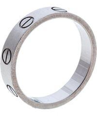 Cartier - Love 18k White Gold Mini Ring Size 49 - Lyst