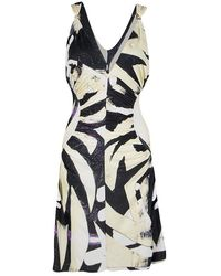 Roberto Cavalli - Printed Ruched Sleeveless Dress M - Lyst