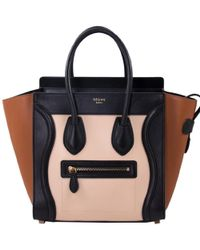 Céline - Tricolor Leather Micro Luggage Tote - Lyst
