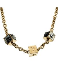 Louis Vuitton - Gamble Crystal Tone Necklace - Lyst