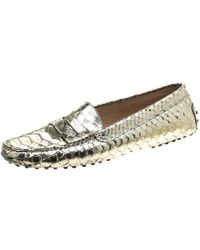 6fde6c45a02 Lyst - Tod s Two Tone Python Leather Double T Loafers in Gray