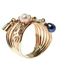 b9732209eb6 Louis Vuitton - Cultured Pearl   Monogram Charm 18k Yellow Gold Cocktail  Ring Size 54 -