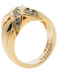Tiffany & Co. - Signature X Kiss Diamond & 18k Yellow Gold Ring - Lyst