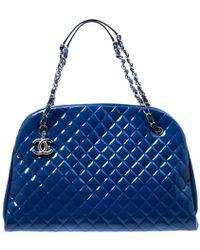30b3c8755190 Chanel - Blue Quilted Patent Leather Large Just Mademoiselle Bowling Bag -  Lyst