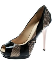 Giuseppe Zanotti - Tricolor Embossed Python With Patent Leather Platform Peep Toe Pumps Size 37.5 - Lyst