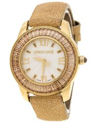 Roberto Cavalli - Silver White Gold-plated Stainless Steel Crystal Fugit Women's Wristwatch 37mm - Lyst