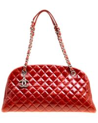 e65c93dfbcb Chanel - Red Quilted Glazed Crackled Leather Medium Just Mademoiselle  Bowling Bag - Lyst