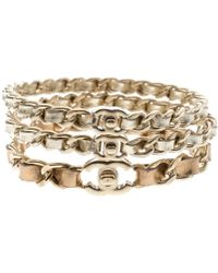 Chanel - Cc Turnlock Leather Woven Gold Tone Chain Bangle Set Of 3 Bracelet M - Lyst