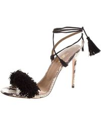 98dfa7e3795 Aquazzura - Two Tone Fringed Suede And Python Wild Thing Tasseled Ankle  Wrap Sandals - Lyst