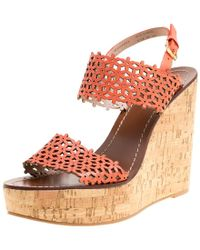 8096fe309cc Tory Burch - Coral Perforated Leather Daisy Cork Wedge Sandals - Lyst