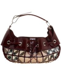 Burberry - Maroon/beige Patent Leather And Super Nova Check Mini Warrior Studded Hobo - Lyst