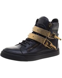 Giuseppe Zanotti - Leather London Double Buckle High Top Sneakers - Lyst