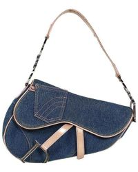 Dior - Two Tone Denim And Leather Saddle Bag - Lyst