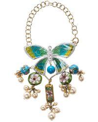 Dior - Asian Inspired Butterfly Flower Embellished Tassel Bracelet - Lyst