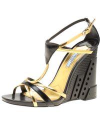 Prada - /gold Leather Retro Futuristic Ankle Strap Geometric Wedge Sandals - Lyst