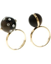 Louis Vuitton - Ball Line Crystals Wood Gold Tone Ring Set - Lyst