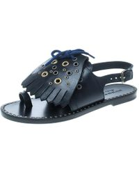 108e5463116 Burberry - Navy Blue Leather Kiltie Fringe Eyelet Detail Flat Sandals Size  37 - Lyst
