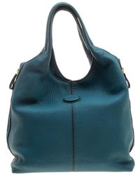 Tod's - Teal Pebbled Leather Zip Tote - Lyst