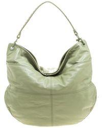 02485d59f84a Bottega Veneta - Olive Green Leather Woven Handle Hobo - Lyst