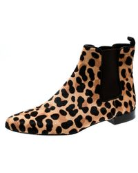 85ce20715 Tory Burch - Brown Leopard Print Calf Hair Orsay Ankle Boots Size 37.5 -  Lyst