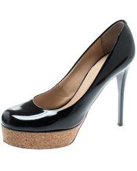 Giuseppe Zanotti - Black Patent Leather Cork Platform Pumps Size 38.5 - Lyst