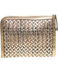 Burberry - Gold/beige Haymarket Check Pvc And Leather Document Case - Lyst