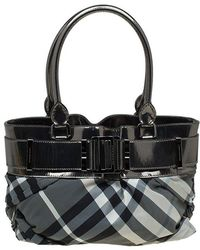 Burberry - Metallic Grey Beat Check Nylon And Leather Small Healy Tote - Lyst
