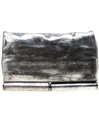 2497f33747f3e Diane von Furstenberg Silver Metallic Leather Bonnie Foldover Clutch