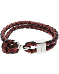 Burberry - Two Tone Braided Leather Silver Tone Bracelet - Lyst