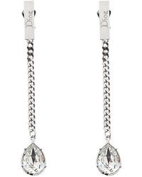 Dior - Crystal Tone Chain Long Clip-on Drop Earrings - Lyst