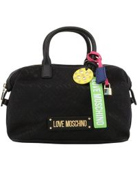 9306d247d942 Moschino Love Moschino Black Patent Tote Bag in Black - Lyst